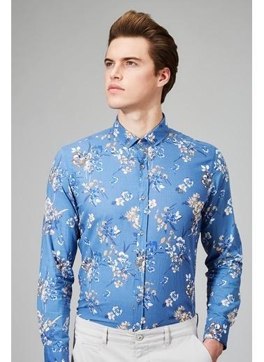 Avva Çiçek Desenli Uzun Kollu Gömlek Mavi